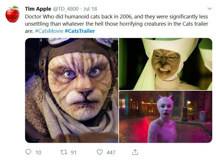 The Cgi Cat Effect In The Cats Movie Looks Like A Snapchat Filter