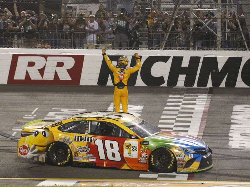 kyle busch goes last to first to claim season sweep at richmond