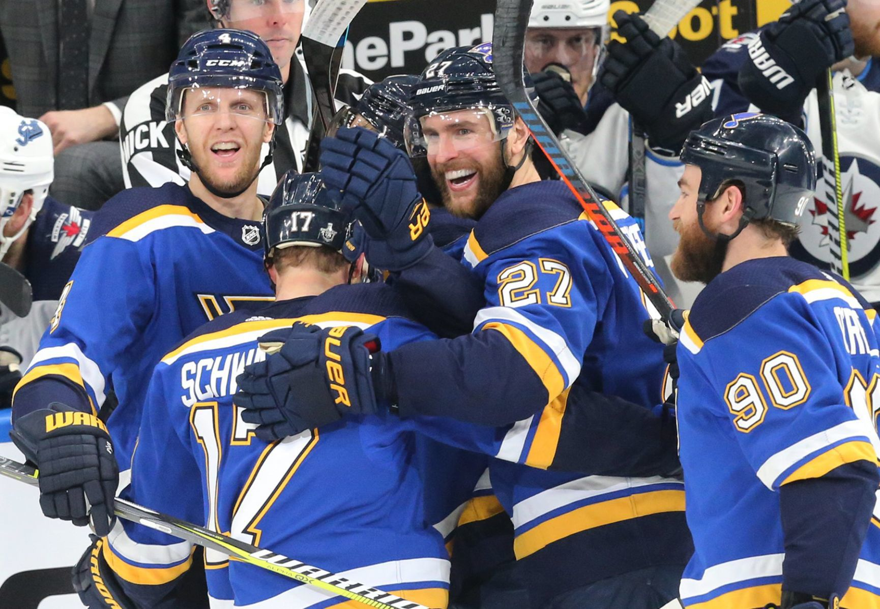 Hat-trick clincher: Blues eliminate Jets to advance