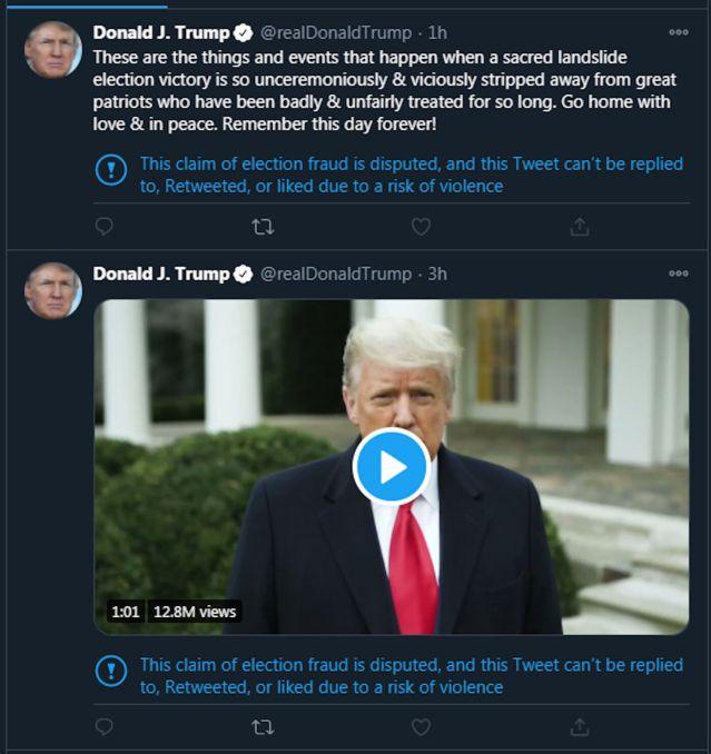 FILE - Trump tweets 1-6-2021