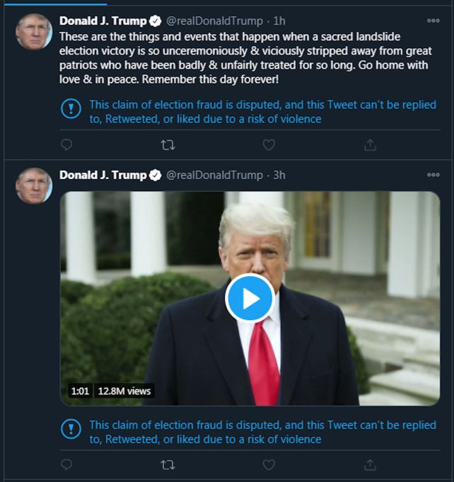 FILE - Trump tweets 1-6-2021