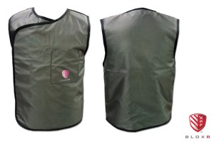 BLOXR XPF Vest, front and back view, for scatter radiation protection