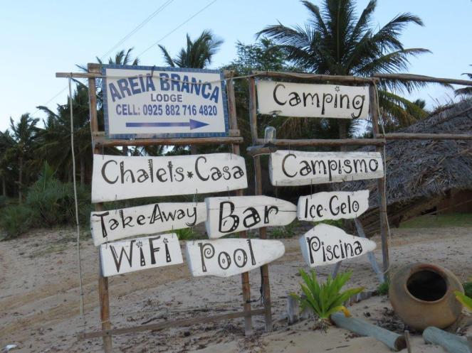 Areia Branca entrance board.