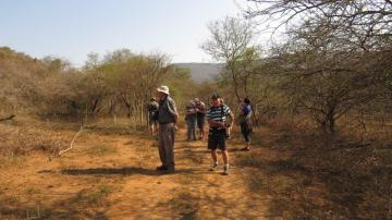 Birders on track - Cecil, Paul, Maureen, Jane and Mike and John