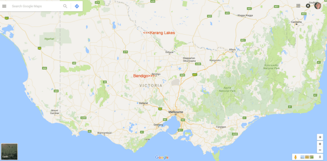 Kerang Lakes in relation to Bendigo and Melbourne
