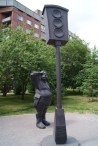 Russia has a collection of odd statues. Here, a monument to the first traffic light