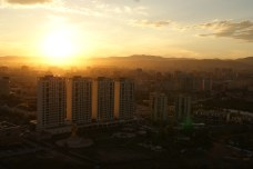 Sunset over Ulaanbaatar.