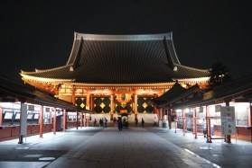 The temple Senso-ji in Askausa on our last night in the city.