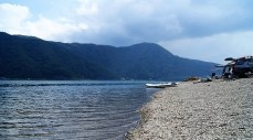 Near Mt Fuji, there are five lakes. We rented bikes to check some of them out. These guys were camping next to Sai-ko.