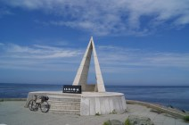 Soya-Misaki, mainland Japan's northernmost point. The monument is a popular photo spot for bikers. I suppose this is a case of a solo biker not willing to accept photo assistance.