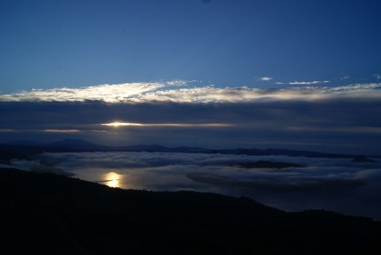 """A sea of clouds"" during sunrise over the lake Kussharo-ko."