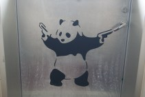 The decorator found inspiration through Banksy. The hallways were full of his images.