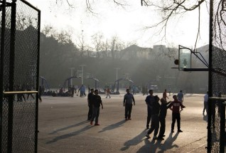 Basketball game at the campus of China's Ocean University.