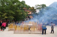 Smoky celebration at Po Lin Monastery at Lantau Island.