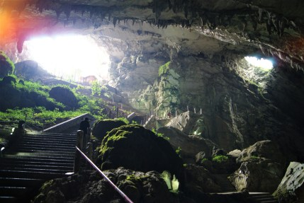 Entering the Zhijin Cave.