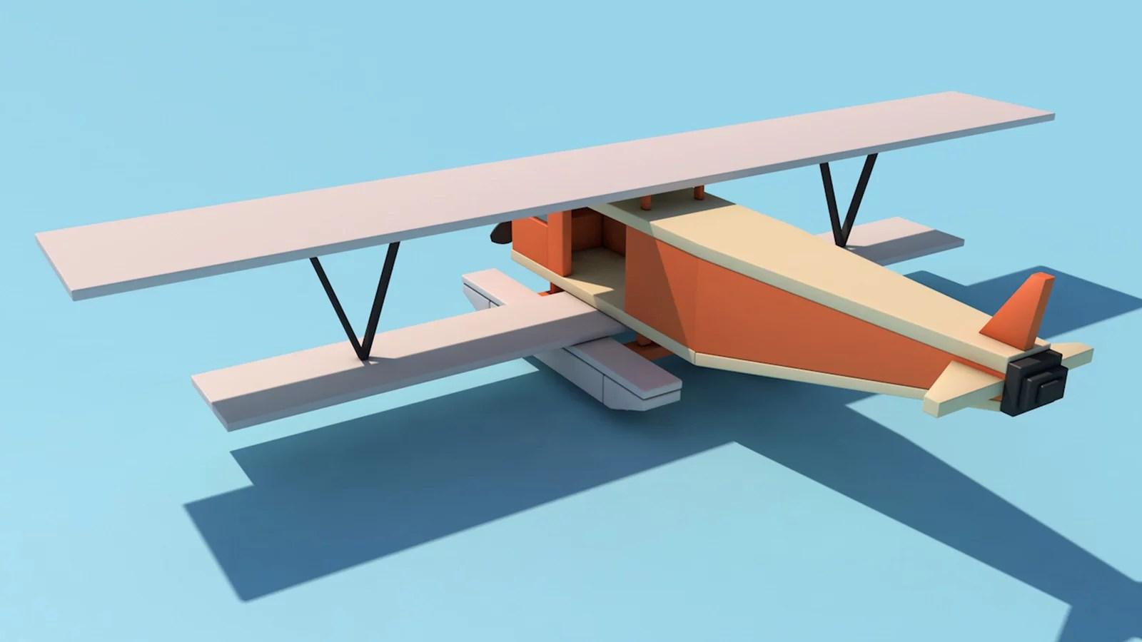 Avioneta Low poly. Minimalista