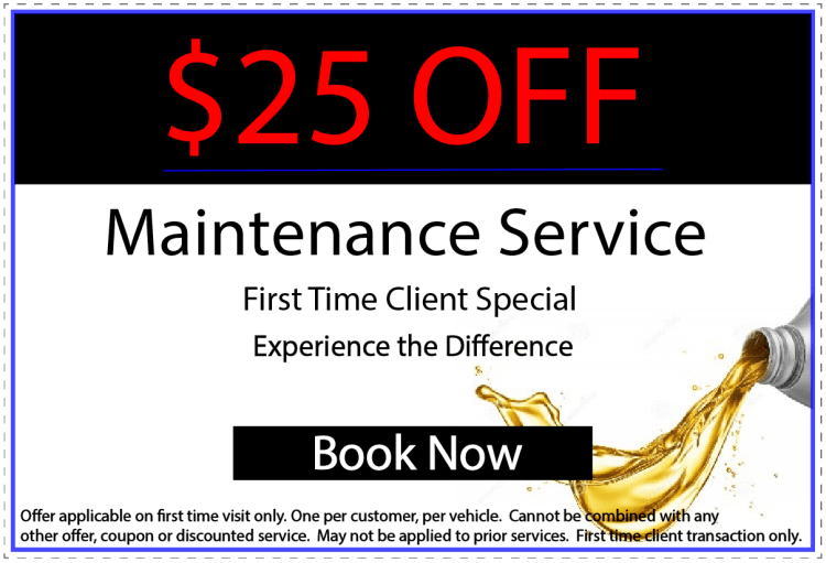 Maintenance service coupon. Oil change special
