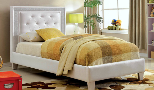 Carlina White Youth Bed Crystal Tufted