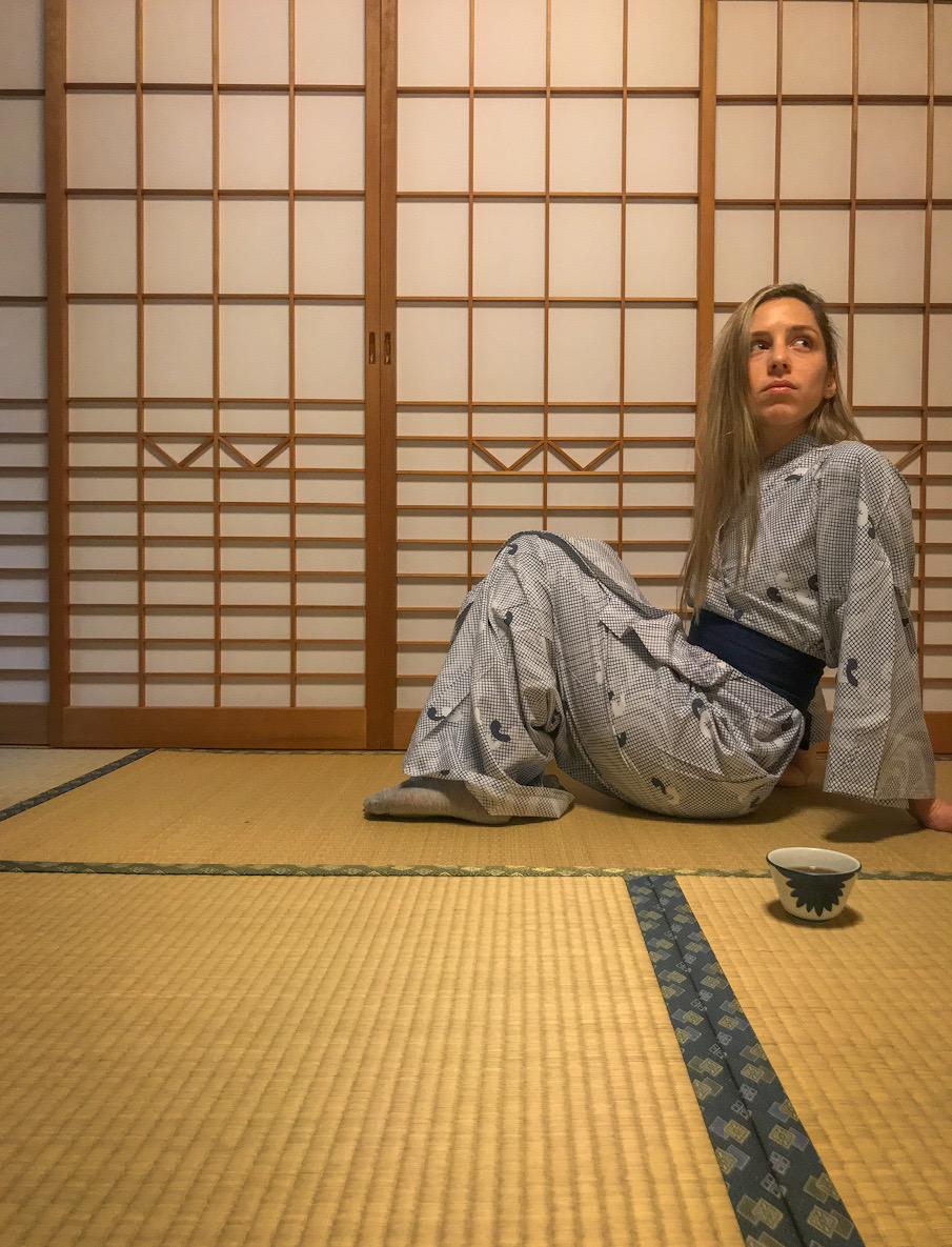 a girl in a ryokan
