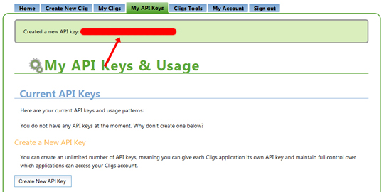 API Keysができる。