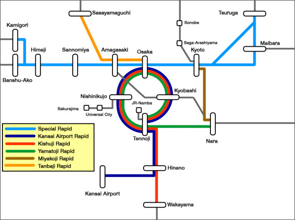 Special rapid trains route map (Click to enlarge)