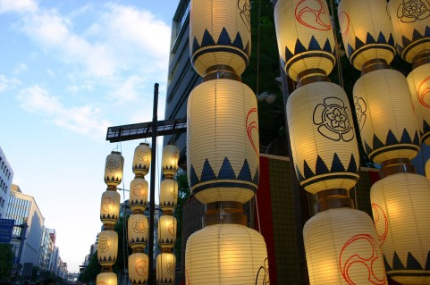 The scene of Gion Festival in Kyoto. It is one of the biggest summer festivals in Japan.