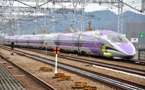 EVA Type 500 train runs as regular scheduled Kodama on Sanyo Shinkansen.