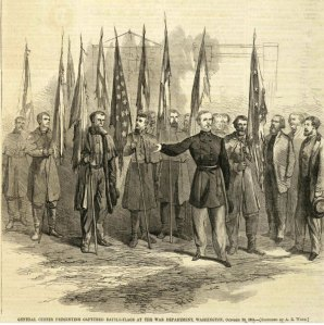 Custer presenting battle flags.