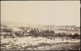 October 2020 M: Camp of 40th Massachusetts Infantry at Merner's(?) Hill Virginia winter 1862-1863: Tent encampment, snow in foreground.
