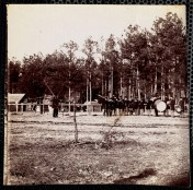 October 2020 O: General Weitzel's Headquarters, Army of James: Winter quarters on left. Band playing at right.