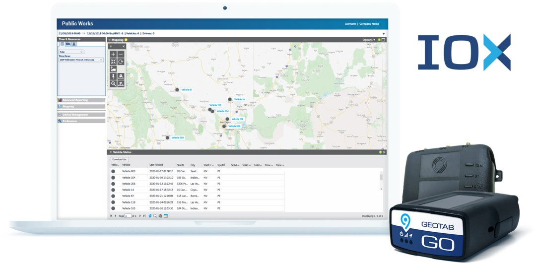 Software mockup of Geotab Public Works platform and GO Device