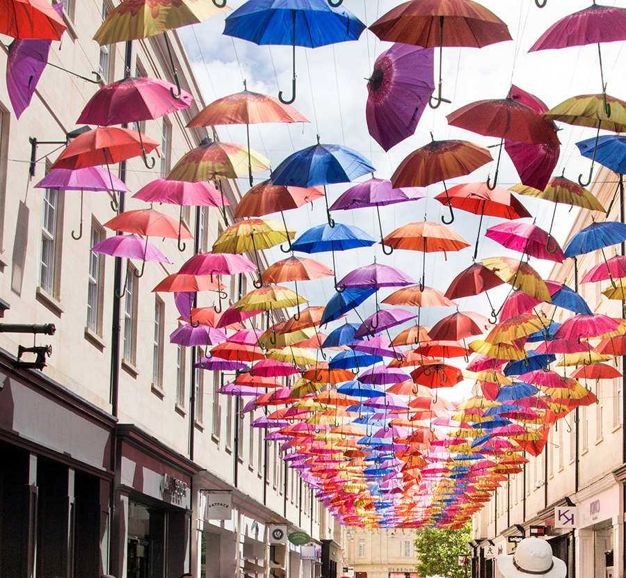 Bath Umbrellas display