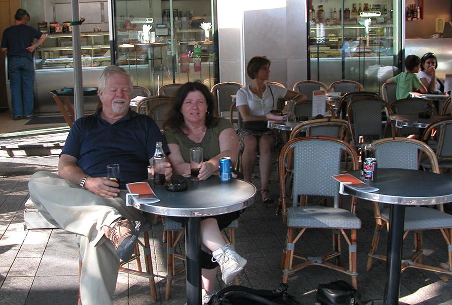 Tom and Cindy at a Paris Cafe