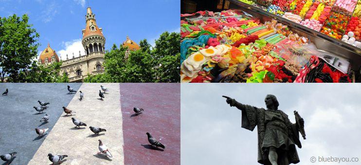 Erste Impressionen aus Barcelona: Architektur, Markt, Tauben und Kolumbus.