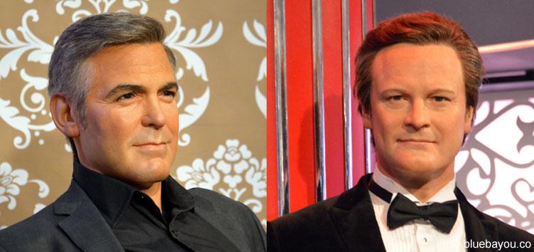 George Clooney und Colin Firth bei Madame Tussauds in London.