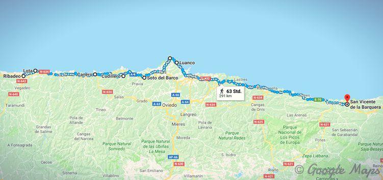 Meine Etappen auf dem Camino del Norte von Ribadeo bis San Vicente de la Barquera.