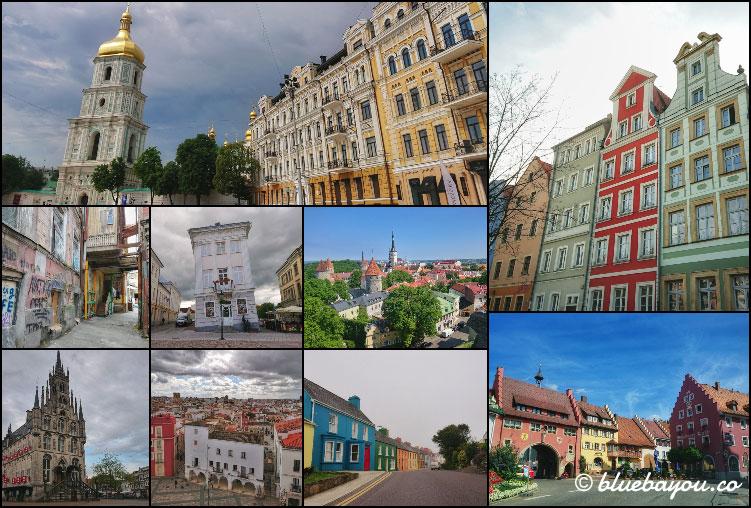 Fotoparade Collage Städte: Von pompös über schief bis bunt war alles dabei in Kiew, Breslau, Tiflis, Tartu, Tallinn, Gouda, Badajoz sowie Dörfern in Irland und Deutschland.