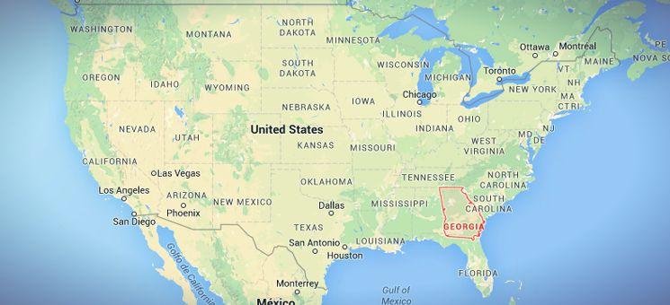 Der Staat Georgia liegt in den sogenannten Südstaaten der USA, also im Südosten.