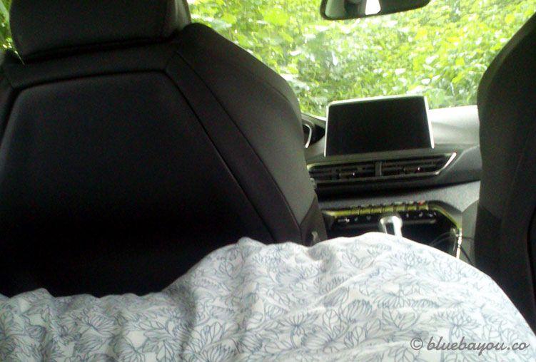 Ausblick aus dem Kofferraum, wenn man im Auto hälftig dort und hälftig auf der Rückbank schläft.