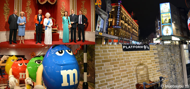 London: Madame Tussauds, London bei Nacht, M&M's World und Harry Potter's Gleis 9 3/4.