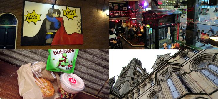 Impressionen aus Manchester: Gay Village, Restaurant, Frühstück und Architektur.