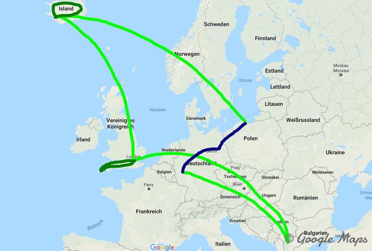 Die Route meines Skytrips: einmal durch Europa per Flieger, Mietwagen und Bahn.