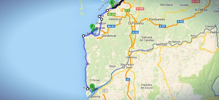 Die Strecke von Vigo über Baiona nach A Pasaxe auf meinem nicht-traditionellen Jakobsweges in Spanien.