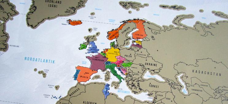 Nahaufnahme der Rubbel-Weltkarte von Goods & Gadgets.
