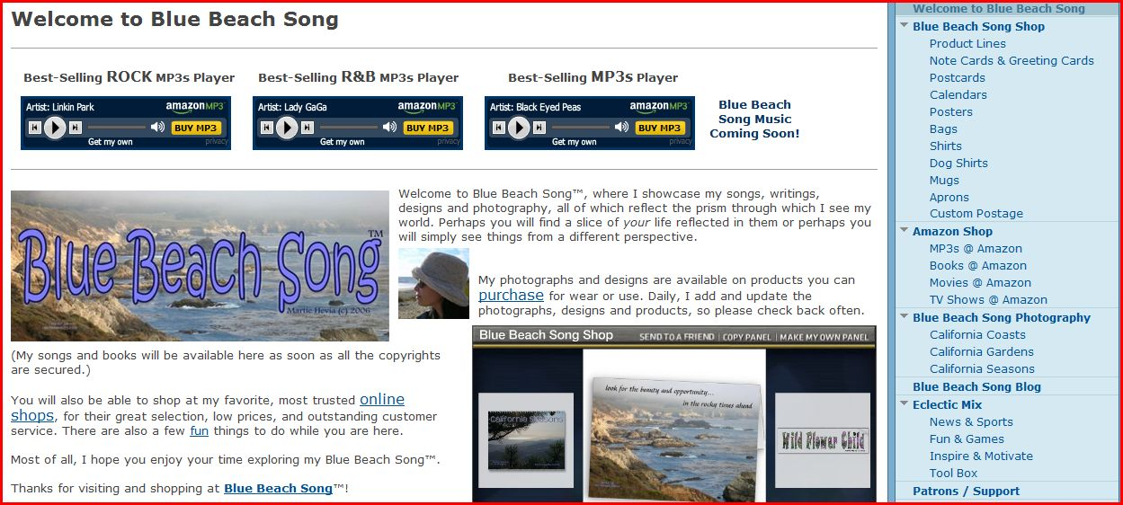 Blue Beach Song Website: You can find Blue Beach Song music, photographs, designs and products. And do a little shopping, too.