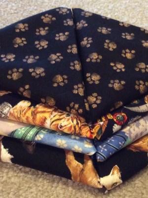 8 Cat Fat Quarter Fabrics stacked