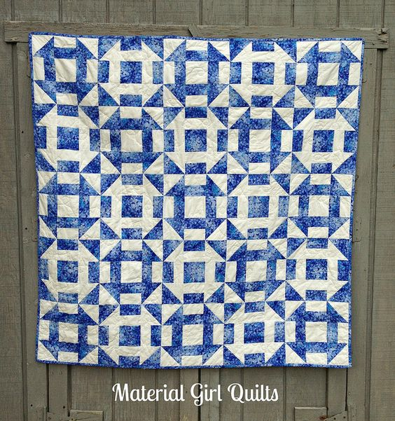 Blue White Churn Dash Quilt