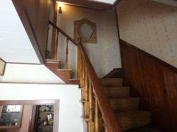 'before' of the stairs going up, with carpet