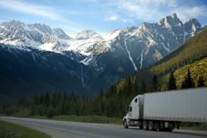 A moving truck on an open road