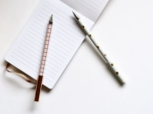 two pens on a ruled notebook